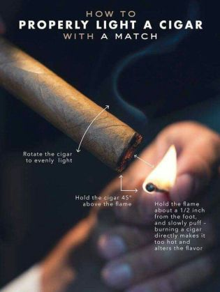 how to properly light a cigar with a match
